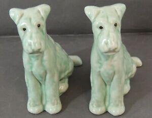 Pair of Ceramic Terrier Figurines 14 cm  - Green - Thames Hospice