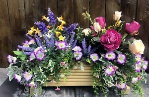 Decking Wooden Planter With Artificial Flowers, Pansies With Foliage