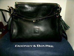 Dooney and Bourke Classic Medium Black Florentine Leather Satchel Used 3 Times E