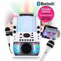 Bluetooth Karaoke Player Machine Microphones Lights CDG and 40 Track Party Songs