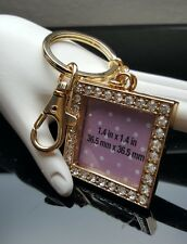 "Key Chain Ring Gold Tone Square Rhinestones  Purse Charm Picture Frame 1.4""x1.4"""