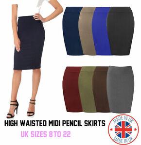 Womens Plain High Waisted Knee Length Bodycon Stretch Pencil Midi Skirt 8-22