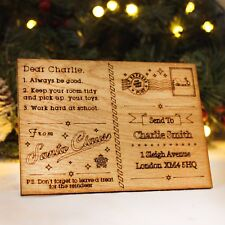Personalised Postcard From Santa Wooden Christmas Message For Child Xmas Letter