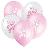"""5 x It's A Girl 12"""" Latex Balloons Helium Quality Pink New Baby Party Decoration"""