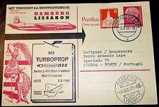 Karte Hamburg 1959 BRD Bund Lissabon Luftpost Turboprop LH 170 (17
