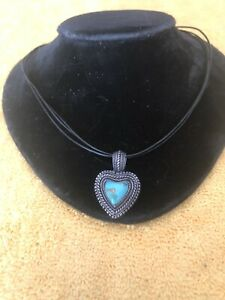 """Vintage Hand Made Sterling Turquoise And 18""""Leather Choker 1""""W By 1 1/2"""" L Heart"""