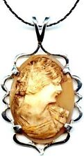 Antique Italian Cameo Sea Shell Torre Del Greco Italy Hand Carved 1850's Silver