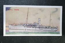 HMS MAINE  Royal Navy Hospital Ship    1930's Vintage Colour Card  VGC