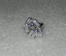 14K WHITE GOLD VINTAGE ART DECO DIAMOND RING - SIZE 6.25  -  LB0085