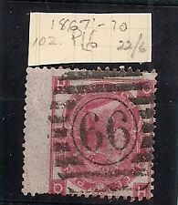 Great Britain Victoria 1867 - 71 3d stamp Plate 6 102