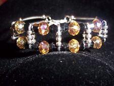 Hot Tibetan Silver Fashion Jewelry Black & Tan Crystal Bead Bracelet B-28