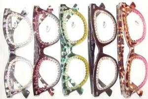 READING GLASSES 5 PAIR LOT ALL WITH RHINESTONES 3.50 STRENGTH FREE CASES SHIP