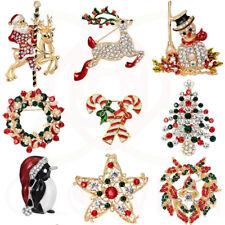 Christmas Brooch Badge Rhinestone Crystal Enamel Brooch Pins Xmas Tree SantaGift