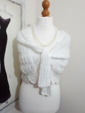 VINTAGE  STYLE SHURG CAPE SHAWL WRAP HAND KNITTED WEDDING BRIDESMAID IVORY