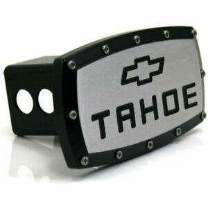 "Chevrolet Tahoe Billet 2"" Tow Hitch Cover Plug Engraved Billet Black Coated"