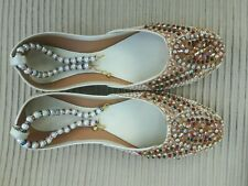 CREAM  / BEIGE   LADIES INDIAN WEDDING PARTY KHUSSA SHOES  SIZE 5