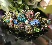 antiqued rhinestone crystal flower hair barrette multi-color clip free shipping