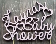 Hand Made Baby Shower Cake Topper - Different Colours WOODEN personalised