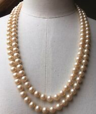 Vintage Cream Pearl Bead Necklace/Glass/Imitation/Retro/Classic/1950's/60's
