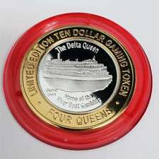 New Listing2011 S 4 Queens Casino Silver Strike $10 The Delta Queen Red Capsule Token 7Fq11