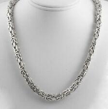 "161.30 gm 14k White Solid Gold Men's Women's Byzantine Chain Necklace 22"" 7 mm"