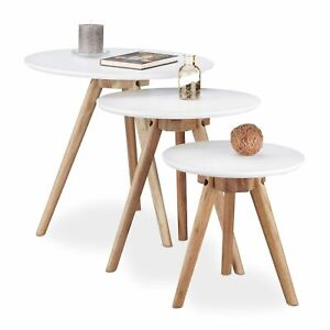Relaxdays Set of 3 Side Coffee Table, Wood Legs and White Top