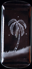 Vintage Etched Glass Rectangular Canopy Tray, Frosted Palm Tree Scene, NICE!!