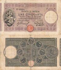 50 LIRE - BANCO DI SICILIA LIRE CINQUANTA PAGABILI A VISTA AL PORTATORE 1913
