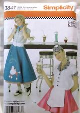Simplicity Pattern 3847 Sizes 14-22 Misses Costumes 50s Skirt Car Hop Uniform