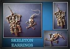 Skeleton Biker Earring & Skull & Bones Earring Rider Pierced Hook 1 x Pair UK