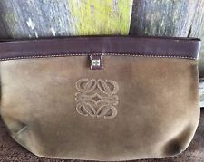 Authentic Loewe Brown Leather Pouch Clutch Bag