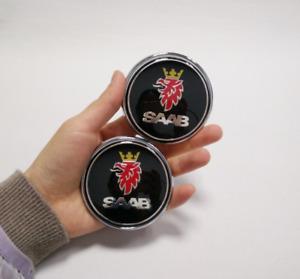 "2pcs 68mm 2.67"" Black Trunk Boot Hood Bonnet Body Emblems Kits Fit Saab 9-3 9-5"