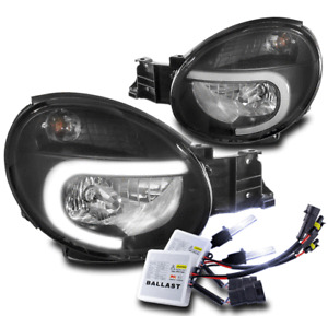 For 02-03 Subaru Impreza Outback RS TS WRX LED Tube Headlight Black +10000K HID