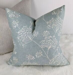 """17"""" John Lewis & Partners """"COW PARSLEY"""" Fabric Cushion Cover Embroidery Duck Egg"""