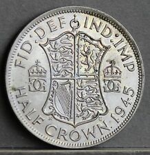 More details for george vi 0.500 silver halfcrown, wwii era; 1945. ef