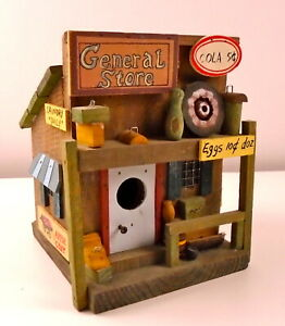 "Folk Art ""General Store"" Birdhouse Handmade Remarkable Detail Signage"