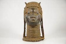 """Unique Benin Bronze Head 11"""" - Nigeria - African Art"""