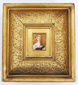 Antique Miniature Painting in Gold Frame Attr. CAROLINE SCHETKY RICHARDSON