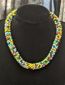 Woven Rope Style Thick Colourful Seed Bead Choker Necklace  .T40