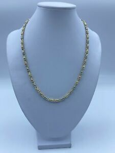 """14ct Yellow, Rose & White Gold (3 color) Fancy Chain Necklace For Women - 18"""", 3"""