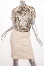 CHANEL *VINTAGE* Cream+Metallic Jacket Blazer+Blouse Skirt Suit Outfit XXS/XS