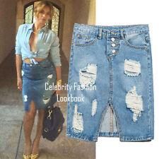 Knee-Length Denim Solid Regular Size Skirts for Women