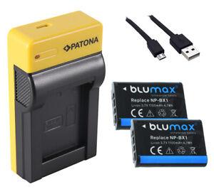 2 Akku + USB-Ladegerät für Sony Cyber-shot DSC-RX100 III, IV, V, VI, VII NP-BX1
