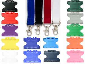 20mm Plain Metal Neck Strap Lanyard With Double ID Badge Card Holder - FREE P&P