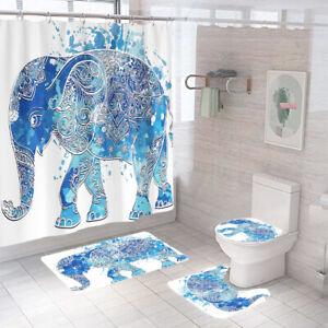 Blue Elephant Bathroom Rug Set Shower Curtain Non Slip Toilet Lid Cover Bath Mat