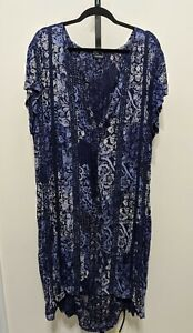 Lucky Brand Women's Blue Floral Dress Midi Oversize Boho Floral Short Sleeve XL