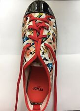 $450 NEW Fendi Junia Canvas Patent Leather Espadrille Sneakers Size 36.5/6.5