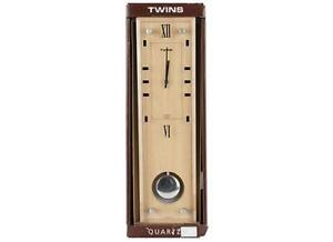 Twins Quartz Pendulum Wall Clock with Glass Front & Wood Dial