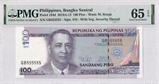 Philippines P#194d solid 5 100 Piso 555555 PMG65 UNC banknote