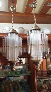 PAIR ANTIQUE VINTAGE ART DECO BRASS CEILING FIXTURE CHANDELIER SHIP LIGHT LAMP